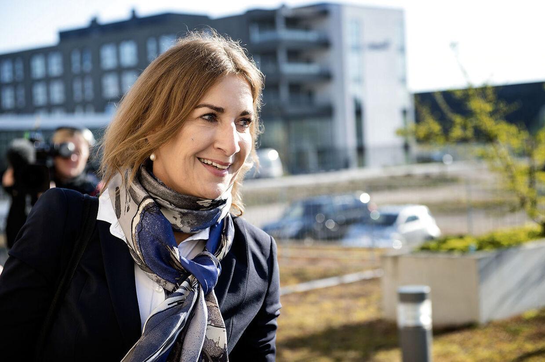 Forsvarer i Kundby-sagen, advokat Mette Grith Stage, foran Retten i Holbæk d. 19. april 2017- - Se RB 20/4 2017 10.59. En 17-årig pige forklarer, at det var kort tid, hun så op til el-Hussein. Hun er tiltalt for forsøg på terror.. (Foto: Nils Meilvang/Scanpix 2017)