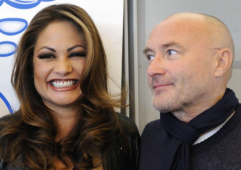 Phil Collins og hans daværende kone, Orianne Cevey. I dag er Collins' 'er-hun-ikke-yndig-blik' nok knap så varmt.
