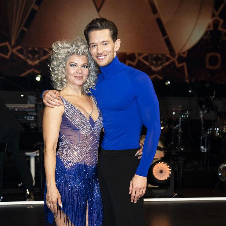 Tv- og radiovært Sara Bro og danser Morten Kjeldgaard til 'Vild med dans'.