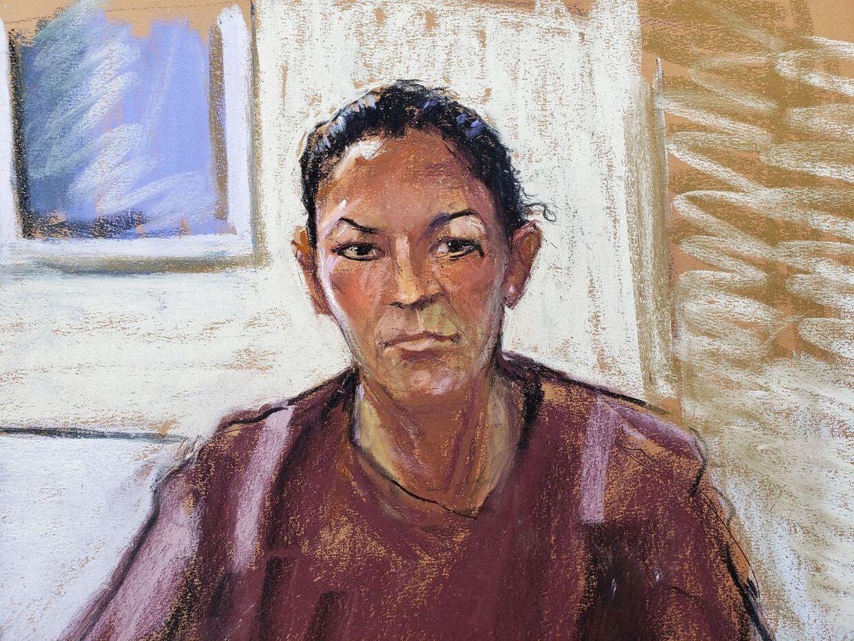 En skitse af Ghislaine Maxwell, da hun i juli blev fremstillet ved retten i New York efter sin anholdelse.