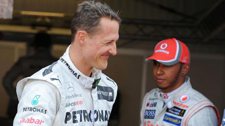 Michael Schumacher og en ung Lewis Hamilton tilbage i 2012 i Monaco.