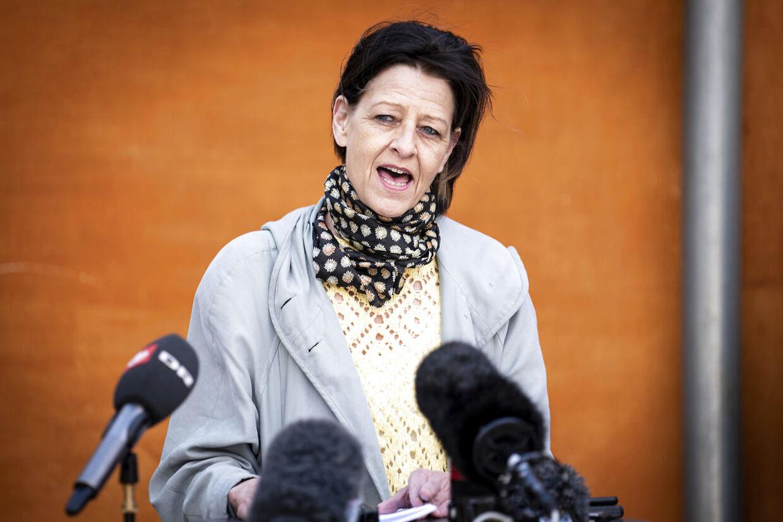 SF's Kirsten Normann Andersen til doorstep om ny grøn boligaftale i Transport- og Boligministeriet i København, tirsdag 19. maj 2020. (Foto: Niels Christian Vilmann/Ritzau Scanpix)