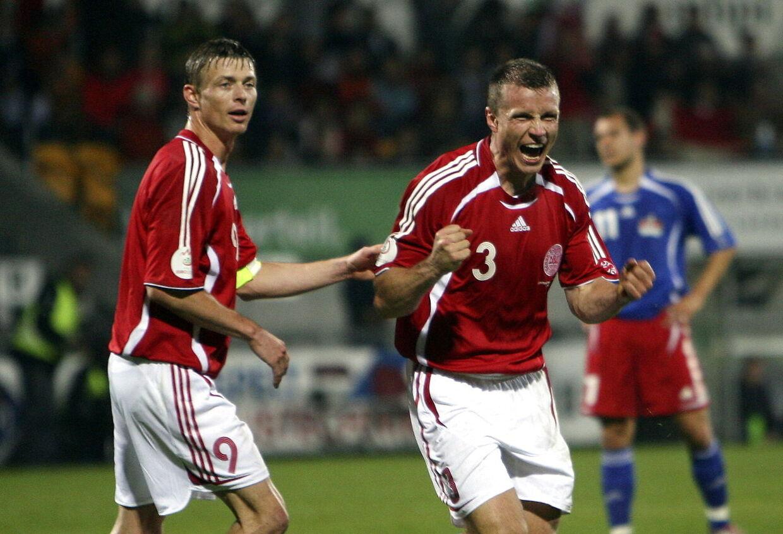 Michael Gravgaard (th) har spillet 18 landskampe. I dag er han ejendomsinvestor.