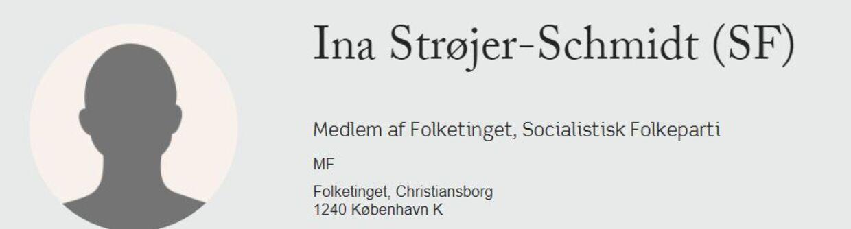 Ina Strøjer-Schmidt er det eneste medlem af Folketinget, som ikke har et profilbillede på Folketingets hjemmeside.