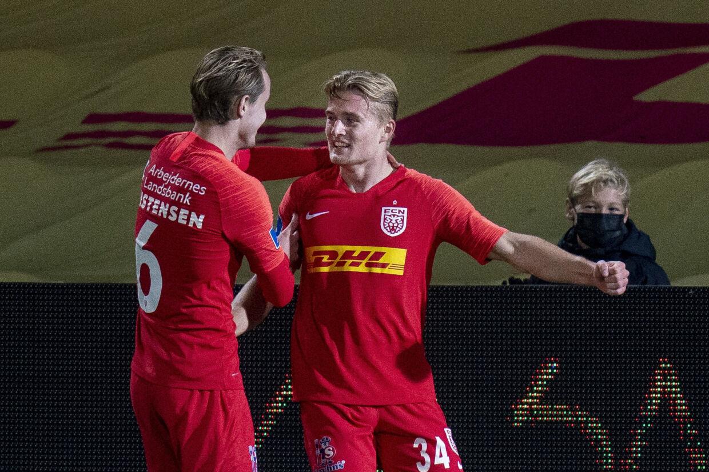 19-årige Jacob Steen Christensen og 22-årige Martin Frese er to af de mange unge spillere i FC Nordsjællands førsteholdstrup. Liselotte Sabroe/Ritzau Scanpix