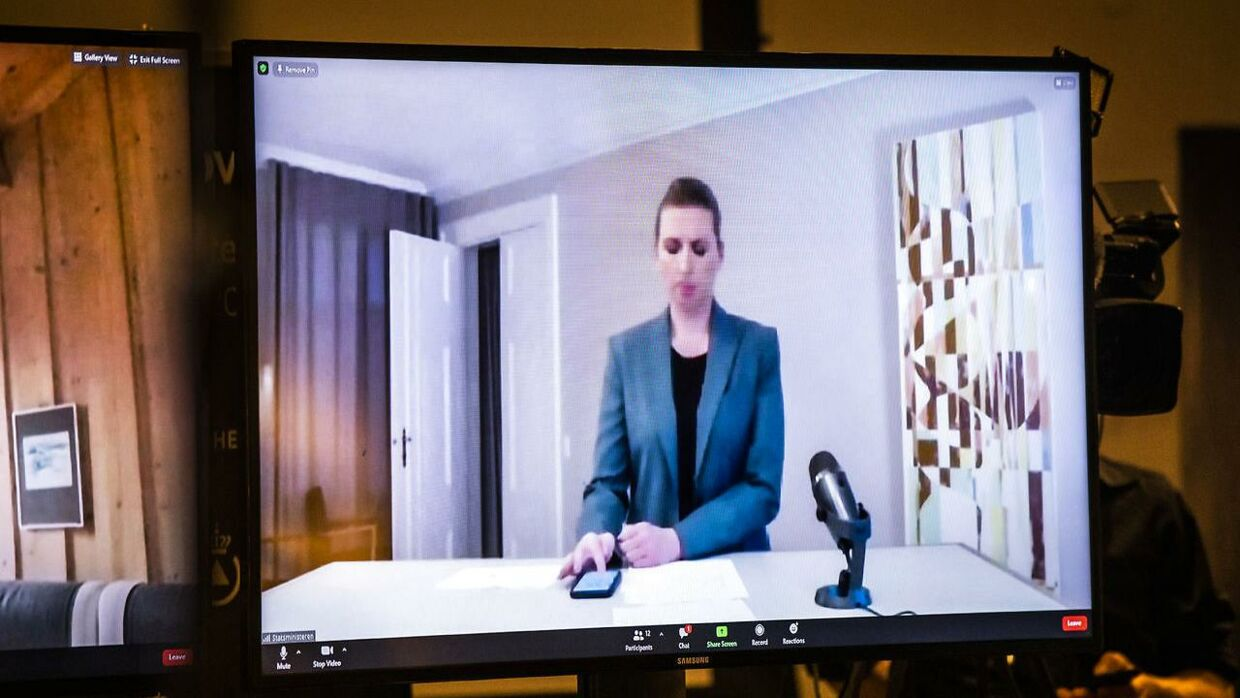 Danish Prime Minister Mette Frederiksen (socialdemocrat) was on a video link during the press conference after she went into self-isolation on Tuesday.