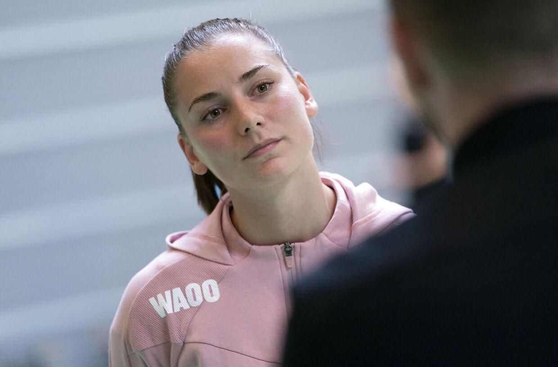 Mie Højlund. Kvindehåndboldlandsholdets nye træner Jesper Jensen, forestår fællestræning i Vejen mandag 8. juni 2020. (Foto: Claus Fisker/Ritzau Scanpix)