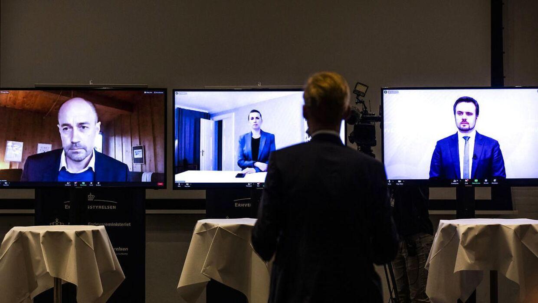 Statsministeren talte om minksituationen under et virtuelt pressemøde onsdag den 4. november 2020.
