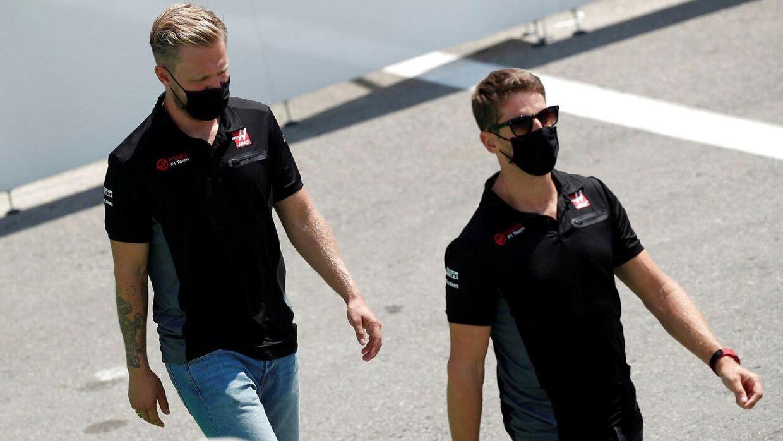 Kevin Magnussen og kollegaen Romain Grosjean.