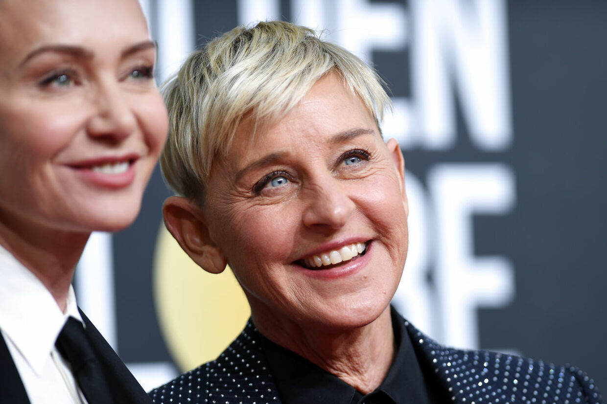 US actress Portia de Rossi (L) and US comedian Ellen DeGeneres arrives for the 77th annual Golden Globe Awards on January 5, 2020, at The Beverly Hilton hotel in Beverly Hills, California. VALERIE MACON / AFP