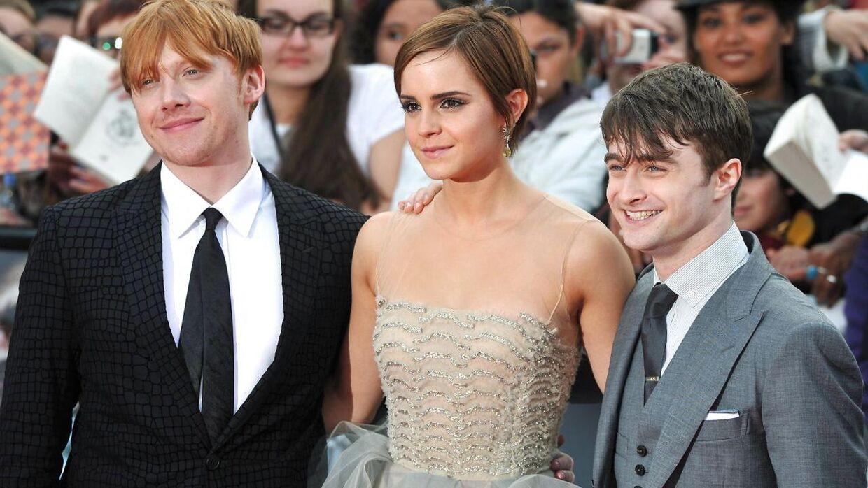 Rupert Grint med sine 'Harry Potter'-medstjerner Emma Watson og Daniel Radcliffe.