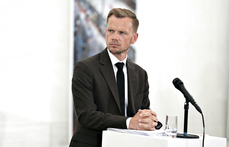 Beskæftigelsesminister Peter Hummelgaard på pressemøde på Danish Crown i Horsens tirsdag den 18. august 2020, hvor regeringen præsenterede sit nye udspil til Arne-pensionen.