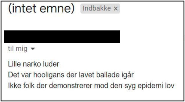 Sendt til en kvindelig journalist efter en artikel om en demonstration mod den nye epidemilov.