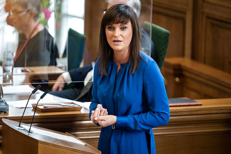 Sophie Løhde (V) under folketingets åbningsdebat i Folketingssalen på Christiansborg, torsdag den 8. oktober 2020.. (Foto: Emil Helms/Ritzau Scanpix)