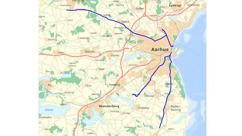 Det er fire ruter, som landmandene bruger til at kommer ind til Aarhus. Foto: Politiet