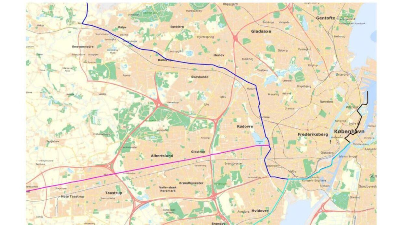 Tre ruter skal fører flere hundrede traktorer til Langelinje. Foto: Politiet