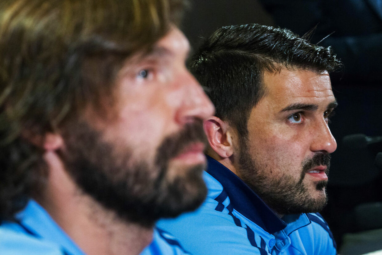 New York City FC players Andrea Pirlo (L) and David Villa attend a press conference during the club's annual media day on March 9, 2017, in New York. EDUARDO MUNOZ ALVAREZ / AFP