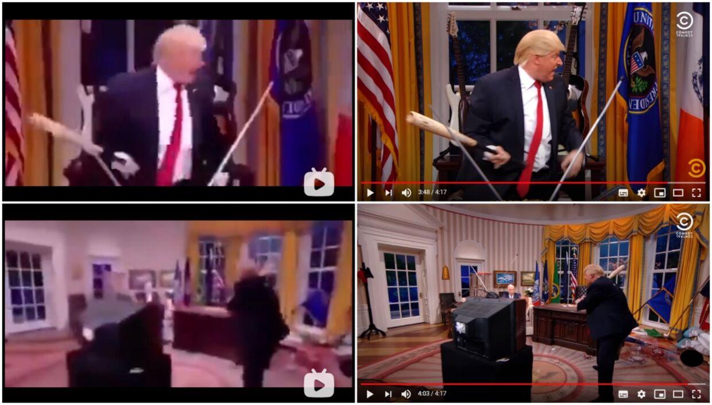 Her ses forskellen mellem de klip, der for tiden florerer af 'præsidenten' flere steder på nettet og så satire-udgaven i 2017 (til højre).