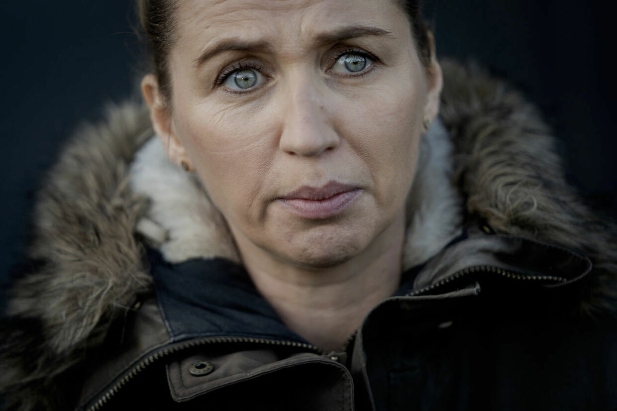 Denmark's Prime Minister Mette Frederiksen reacts after a visit to a empty Mink Farm near Kolding, Denmark, Thursday Nov. 26, 2020. Prime Minister Mette Frederiksen had tears in her eyes when she met the press after the visit. (POOL) Mads Nissen / Politiken / Ritzau Scanpix
