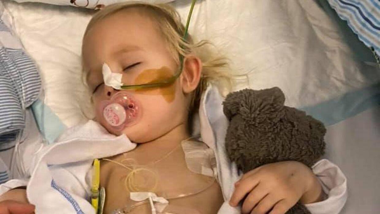 Mille på to år måtte haste-opereres, da hun havde slugt 21 magnetkugler. Kuglerne havde lavet huller i hendes mavesæk og i hendes tarme. PRIVATFOTO