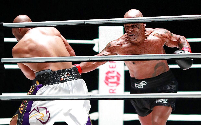 Mike Tyson i kamp med Roy Jones Jr. 28. november 2020.