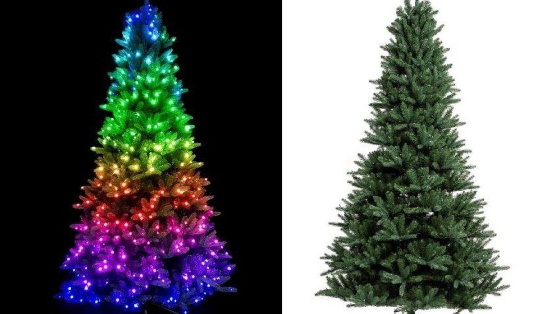Plastikjuletræet med lys – og uden lys.