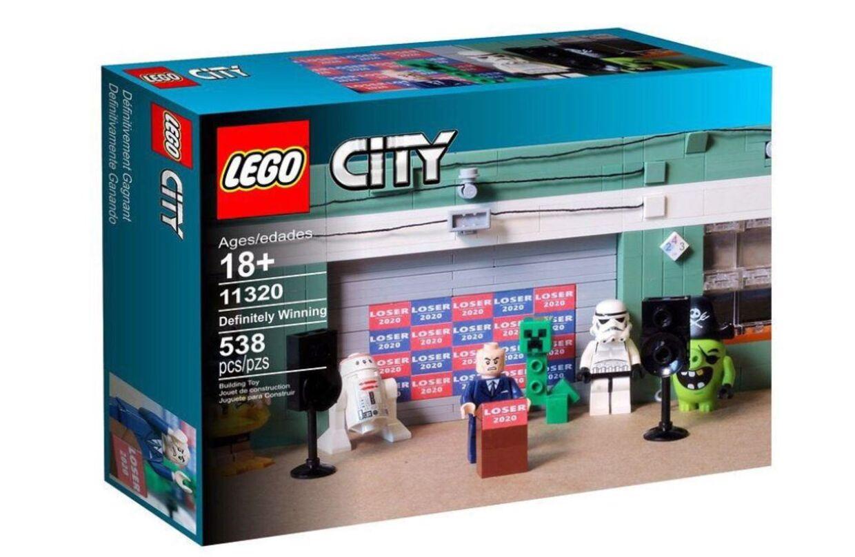 Sådan ser Lego-sættet ud med Four Seasons Total Landscaping og Rudy Giuliani.
