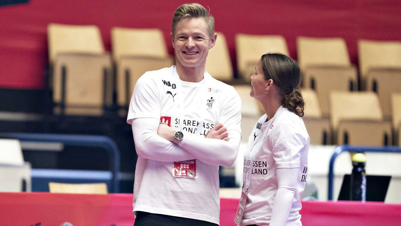 Jesper Jensen og Christina Roslyng under kampen mellem Danmark og Slovenien.