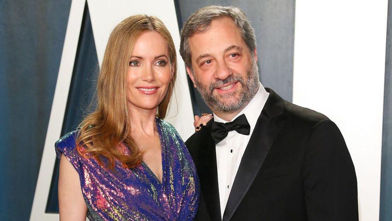 Judd Apatow med sin kone Leslie Mann.