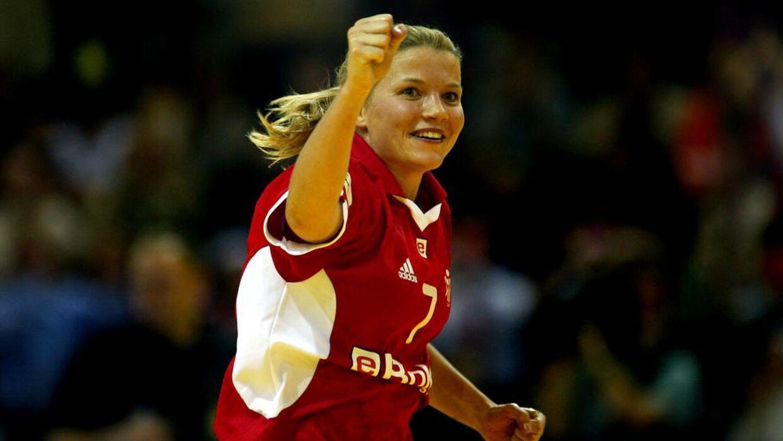 Christina Roslyng under EM i håndbold i 2002.