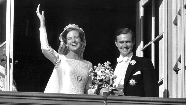Принцесса Маргрет и принц Хенрик в день свадьбы.