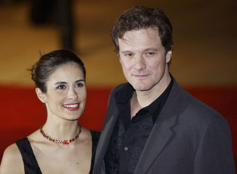 Colin Firth og hans hustru Olivia ved premieren på 'Love Actually'.