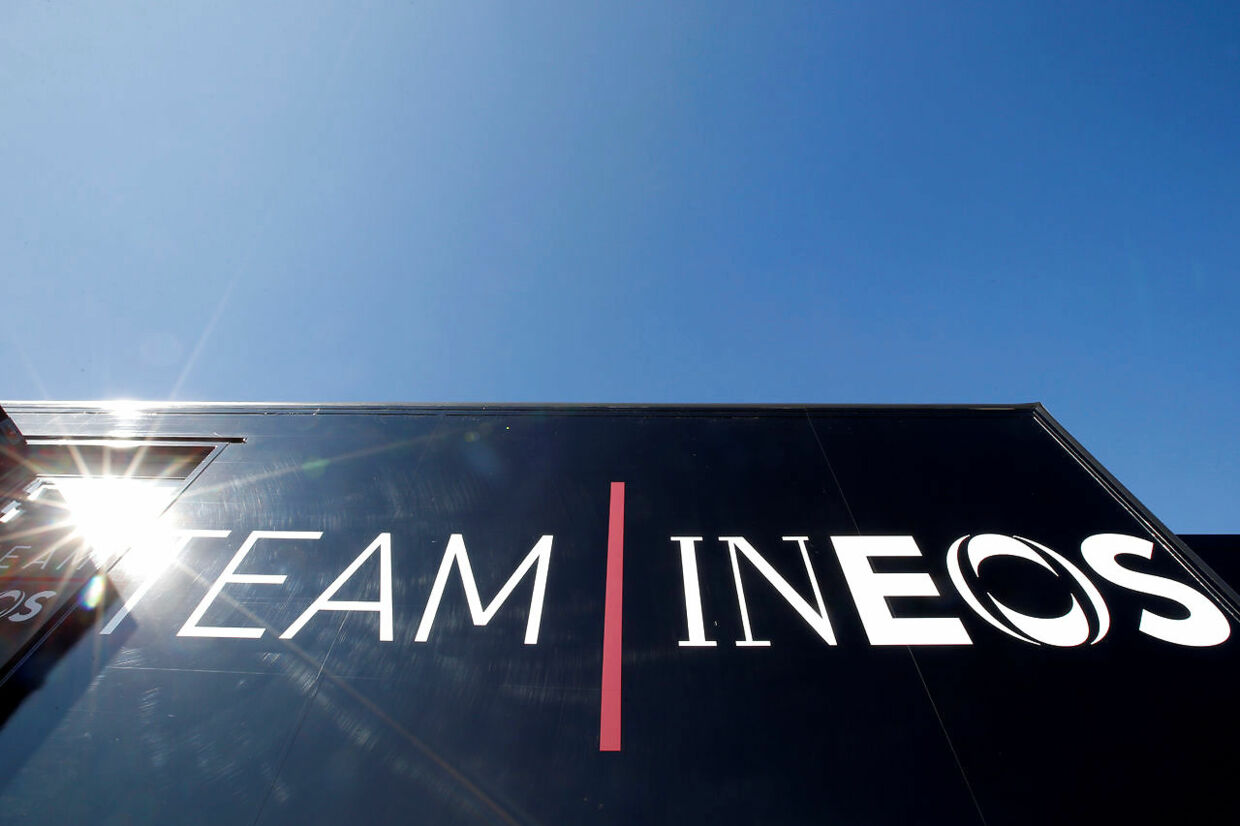Cycling - Tour de France - Castres, France - Team INEOS news conference - July 16, 2019 - The logo of Team INEOS is seen on a truck. REUTERS/Regis Duvignau