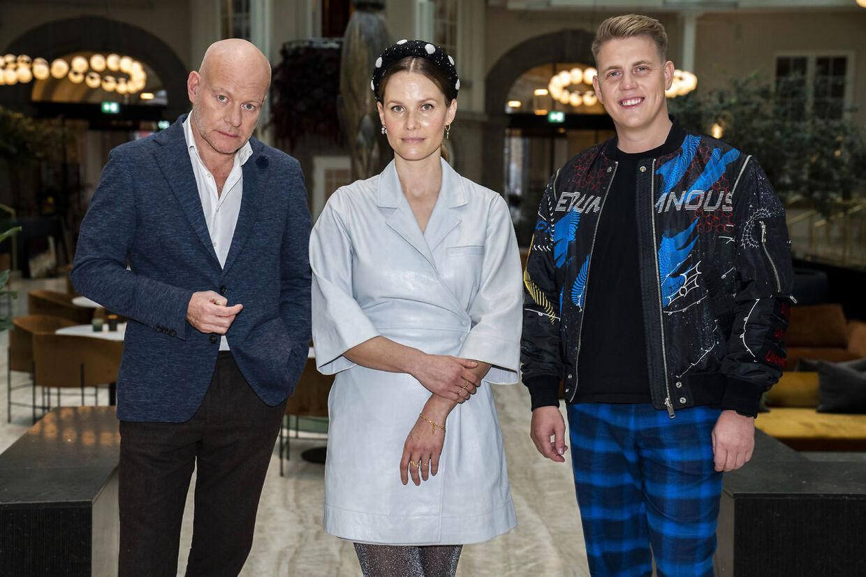 Thomas Blachman, Martin Jensen og Oh Land. 'X Factor'-dommere og vært møder pressen på hotel Villa i København 17. december 2020. (Foto: Martin Sylvest/Ritzau Scanpix 2020)