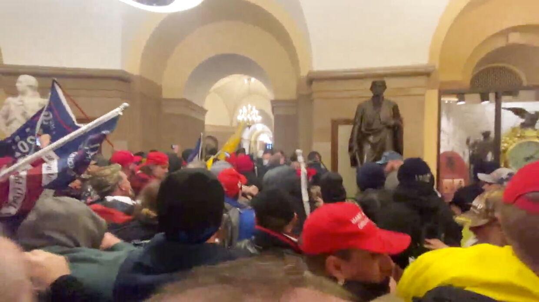Kaos: Kongresbygningen i Washington stormes af Trump-tilhængere. Den 6. januar 2021.