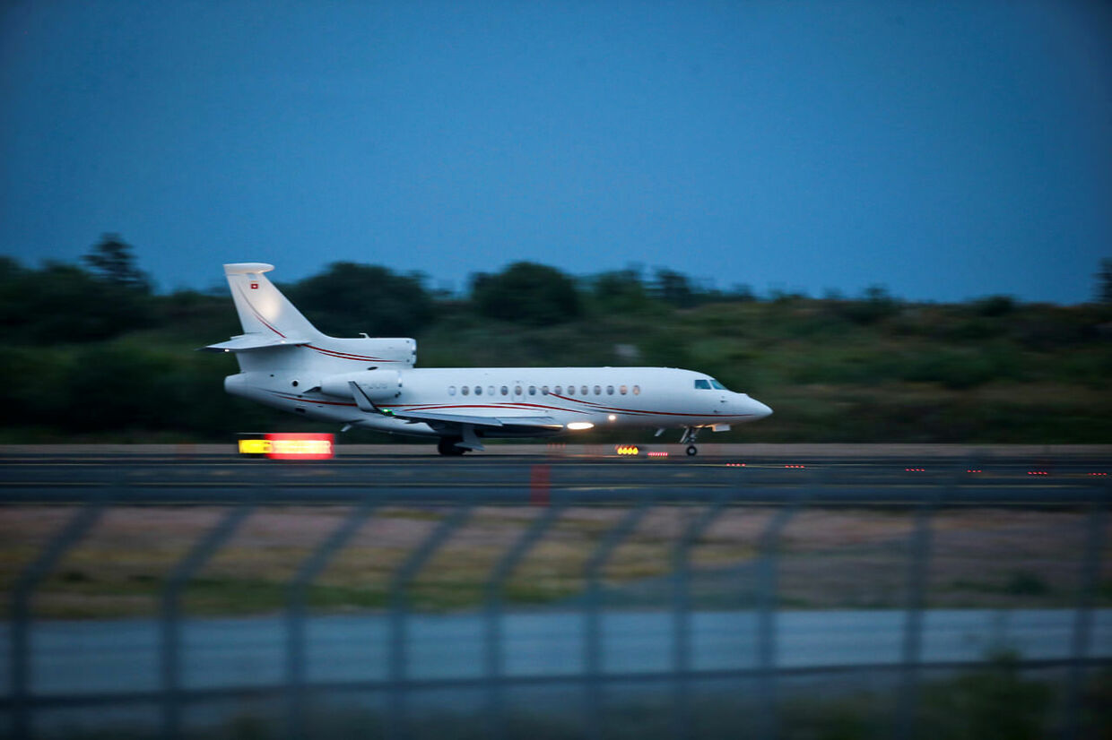 A private jet lands at Arlanda airport, Sweden to pick up U.S. rapper ASAP Rocky, after he was released from custody, pending the verdict of his June street brawl assault trial, August 2, 2019. TT News Agency/Fredrik Persson via REUTERS ATTENTION EDITORS - THIS IMAGE WAS PROVIDED BY A THIRD PARTY. SWEDEN OUT.