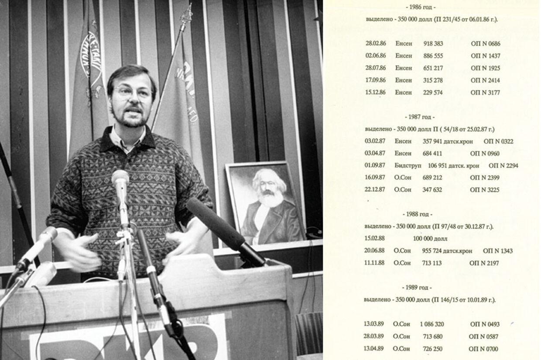 Ole Sohn taler til de delgerede på DKPs kongres på Ejbyskolen i Odense i 1991. Til højre ses listen, således som forfatterne til bogen 'Guldet fra Moskva' har sat den op på originalsproget.