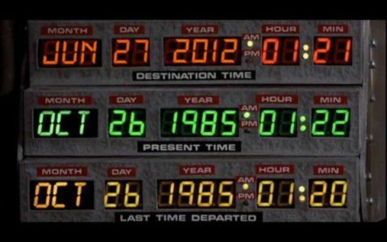 Dette billede florerer i øjeblikket på internettet og især Facebook. Det skal forestille, at det er den dato, hvor Doc og Marty McFly i filmen Tilbage til Fremtiden, skal til fremtiden.