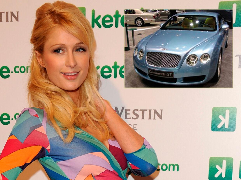 Paris Hilton har forkælet sig selv med en Bentley Continental GT (indsat), dog i en lyserød version.