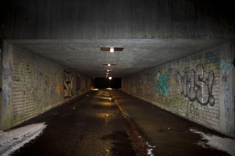 Politiet har i dag anholdt en mand, der er sigtet for voldtægter og forsøg på samme på ni kvinder. De fleste voldtægter er foregået i og omkring denne tunnel i Tingbjerg.