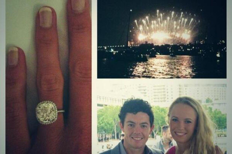 Caroline Wozniacki og Rory McIlroy skal giftes. Til venstre ses Caroline Wozniackis hånd med forlovelses-ring