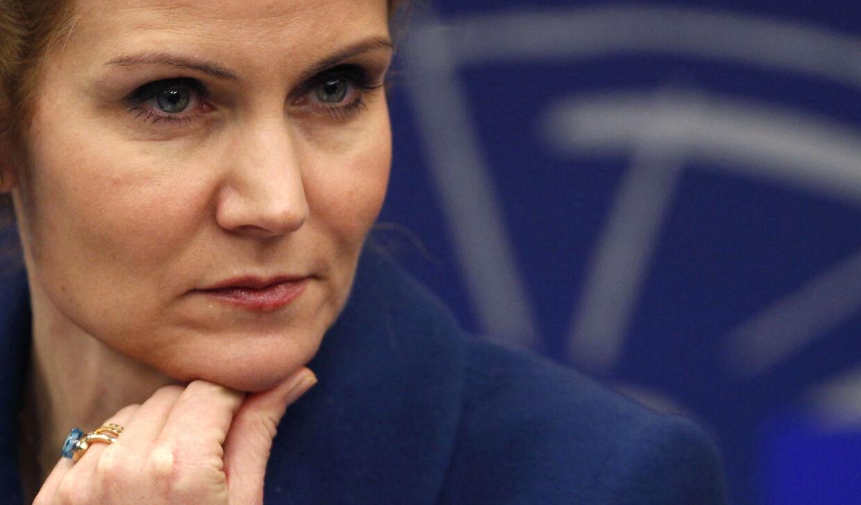 Helle Thorning-Schmidt i Strasbourg d. 18. januar, hvor hun foran Europas ledere skulle holde en meget vigtig tale.