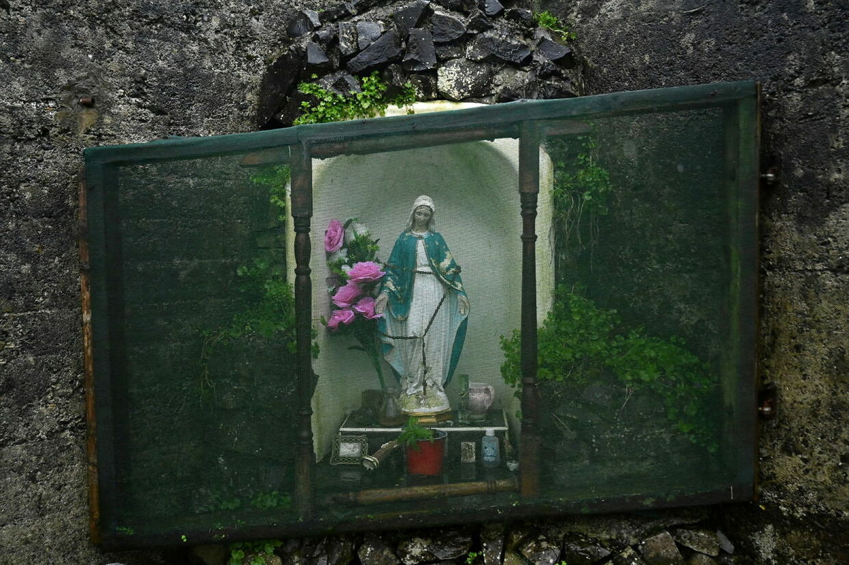 A detail view of the shrine at the Tuam graveyard where the bodies of 796 babies were uncovered at the site of a former catholic Church-run Bon Secours Mother and Baby Home after Taoiseach Micheal Martin delivered a state apology to survivors of these institutions, in Tuam, Ireland, January 12, 2021. Picture taken January 12, 2021. REUTERS/Clodagh Kilcoyne