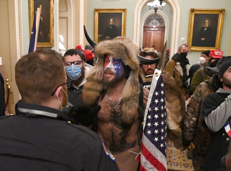 6. januar udbrød stor dramatik, da en stor gruppe af Trump-tilhængere stormede Kongressen i Washington. (Photo by Saul LOEB / AFP)