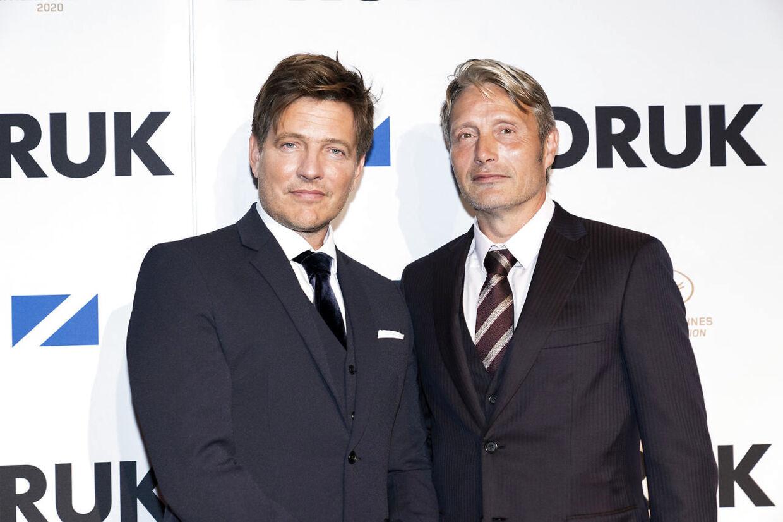 Instruktør Thomas Vinterberg og Mads Mikkelsen til den danske premiere på 'Druk'.