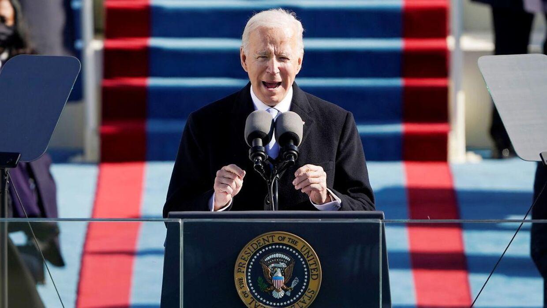 Joe Biden holder tale ved sin præsidentindsættelse.