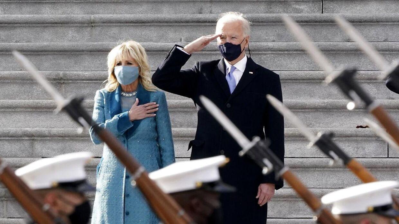 Præsident Joe Biden og førstedame Jill Biden til ceremonien under indsættelsen.