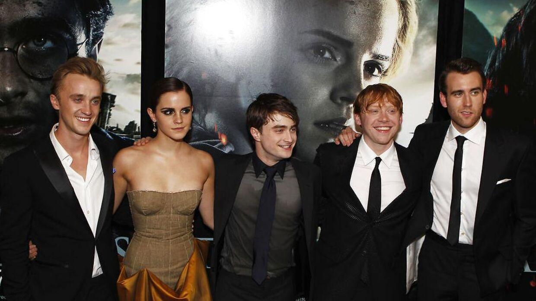 'Harry Potter'-holdet i 2011. Fra venstre : Tom Felton, Emma Watson, Daniel Radcliffe, Rupert Grint og Matthew Lewis.