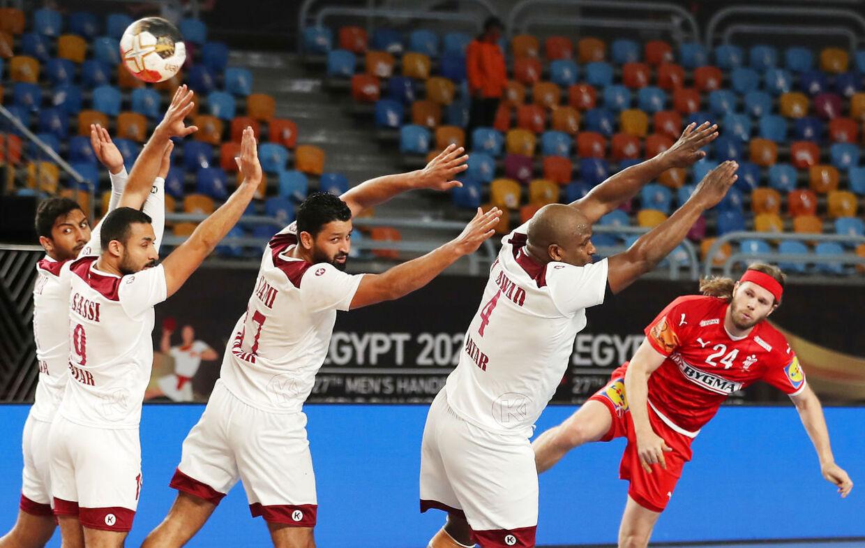 Handball - 2021 IHF Handball World Championship - Main Round Group 2 - Denmark v Qatar - Cairo Stadium Hall 1, Cairo, Egypt - January 21, 2021 Denmark's Mikkel Hansen in action Pool via REUTERS/Mohamed Abd El Ghany