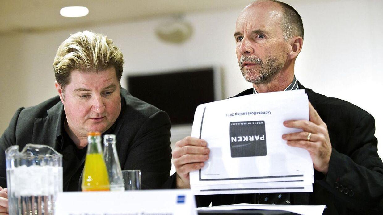 Bestyrelsesmedlemmer og FCK-aktionærer i Parken Sport & Entertainment Erik Skjærbæk (tv.) og Karl Peter Korsgaard Sørensen.